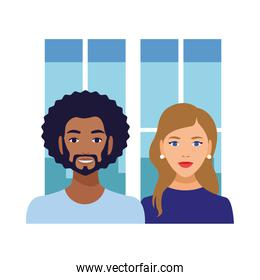 interracial couple man afro and caucasian woman avatars characters