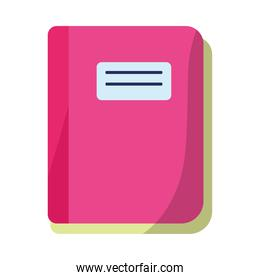 fucsia notebook school supply isolated icon