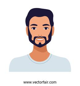 man with beard avatar character isolated icon