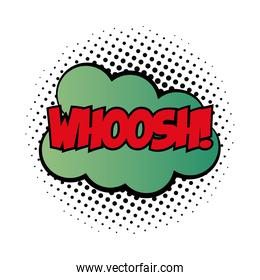 expression cloud with whoosh word pop art fill style