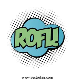expression cloud with rofl word pop art fill style