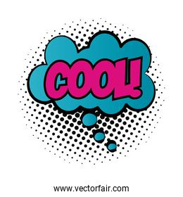 expression cloud with cool word pop art fill style