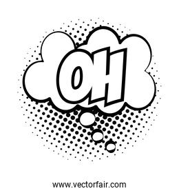 expression cloud with oh word pop art line style