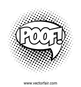 speech bubble with poof word pop art line style