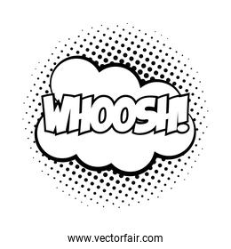 expression cloud with whoosh word pop art line style