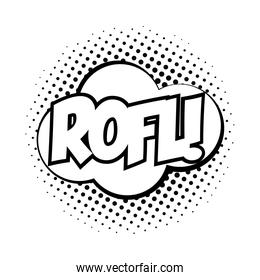 expression cloud with rofl word pop art line style