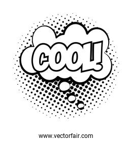 expression cloud with cool word pop art line style