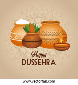 happy dussehra festival lettering poster with ceramic jars and candle