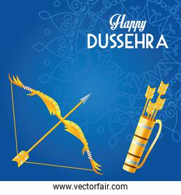 happy dussehra festival poster with arch and arrows bag