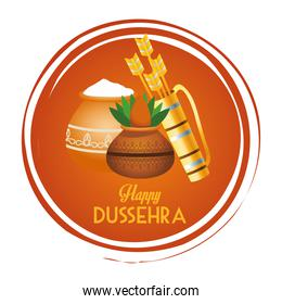 happy dussehra festival poster with arrows bag and ceramic pot