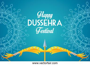 happy dussehra festival poster with arch and mandalas in blue background
