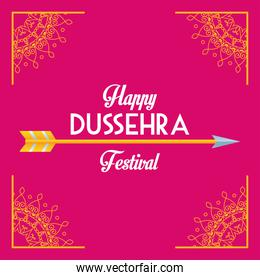 happy dussehra festival poster with letterign and arrow