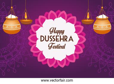 happy dussehra festival poster with ceramic pots hanging and lace decoration