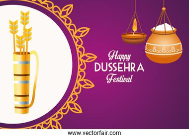 happy dussehra festival poster with arrows bag and ceramic pot in mandala