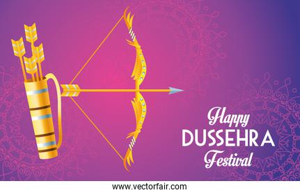 happy dussehra festival poster with arch