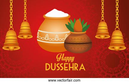 happy dussehra festival poster with bells hanging and houseplants