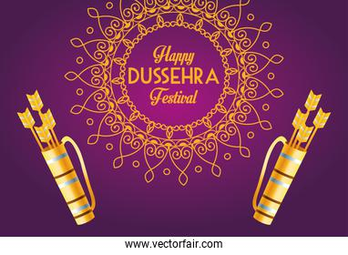 happy dussehra festival poster with arrows bags in mandala