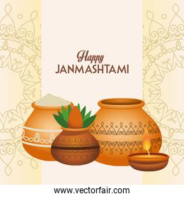 happy dussehra festival poster with ceramic jars and candle