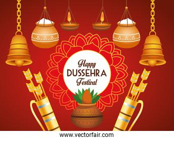 happy dussehra festival poster with bells hanging and arrows bags
