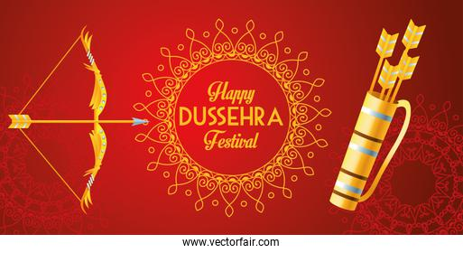 happy dussehra festival poster with arch and arrows bag in red background