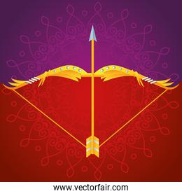 happy dussehra festival poster with arch in purple and red background