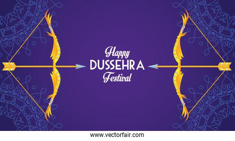 happy dussehra festival poster with archs in purple background