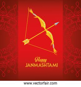 happy dussehra festival poster with lettering and arch in red background
