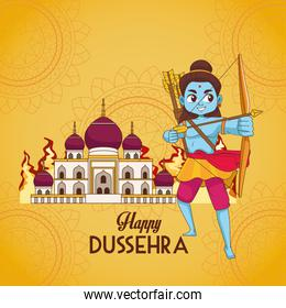 happy dussehra festival poster with blue rama character and mosque building