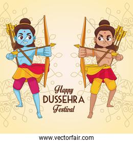 happy dussehra festival poster with two rama characters