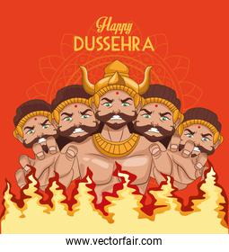 happy dussehra festival poster with ten headed ravana and fire flames