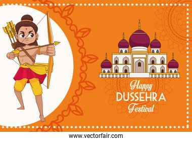happy dussehra festival poster with rama character and mosque