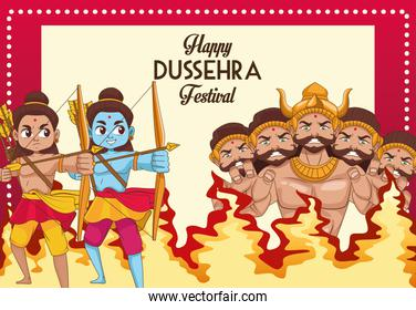 happy dussehra festival poster with two rama and ten headed ravana characters