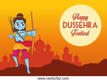 happy dussehra festival poster with blue rama character and mosque silhouette