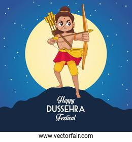 happy dussehra festival poster with rama character and moon night scene