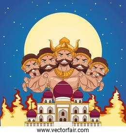 happy dussehra festival poster with ten headed ravana and mosque building at night