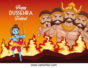 happy dussehra festival poster with ten headed ravana and rama blue on fire
