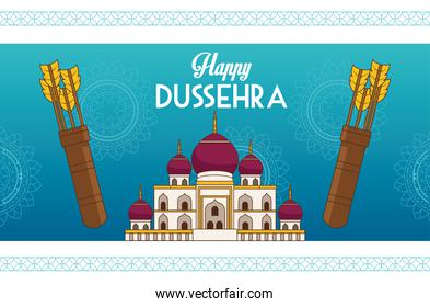 happy dussehra festival poster with mosque building and arrows bags