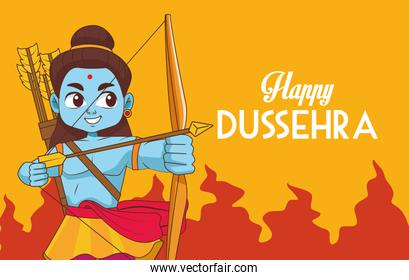happy dussehra festival poster with blue rama character