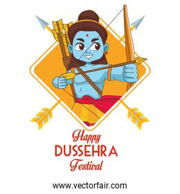 happy dussehra festival poster with blue rama character and lettering