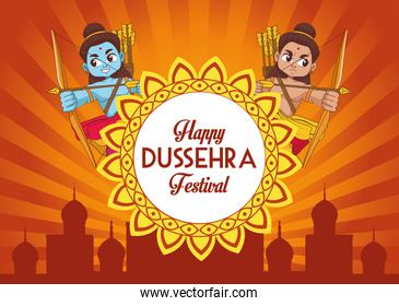 happy dussehra festival poster with two rama characters and mandala frame