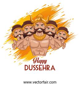 happy dussehra festival poster with ten headed ravana and lettering