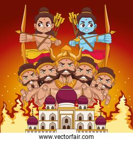 happy dussehra festival poster with two rama and ten headed ravana in mosque building