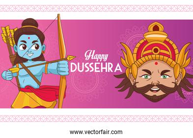 happy dussehra festival cartel with blue rama and ravana characters