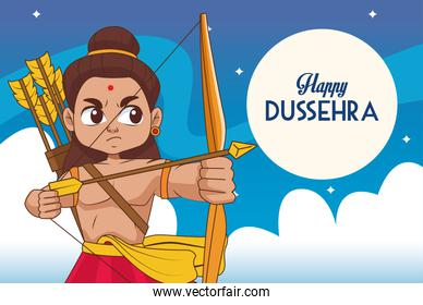 happy dussehra festival poster with rama character at night scene