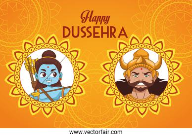 happy dussehra festival poster with blue rama and ravana characters