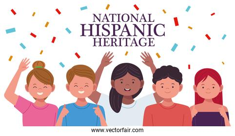 national hispanic heritage celebration with people characters and confetti
