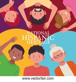 national hispanic heritage celebration with lettering and people characters