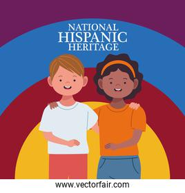 national hispanic heritage celebration with interracial couple characters