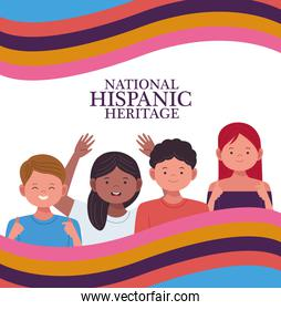 national hispanic heritage celebration with people characters and flag
