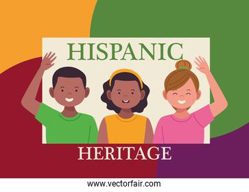 national hispanic heritage celebration with lettering and people